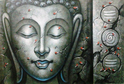 Buddha In Grey - 36in X 24in,ART_PIJN41_3624,Acrylic Colors, Grey,White shade,Buddha,Mediatation,Peace Artist Pallavi Jain,Museum Quality - 100% Handpainted Buy Paintings Online in India