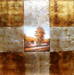 Scenery - 31in x 31in (Framed),ART_SYM97_3131,Acrylic Colors,Metallic Gold ,Home,NAture,Community Artists Group,Museum Quality - 100% Handpainted