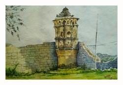 Hampi, historical, india, watercolour, ,Badami shadow and light,ART_715_14431,Artist : Santosh Loni,Water Colors