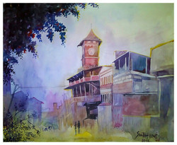 landscape cityscape Santosh loni watercolor,Belgaum clock 18*15,ART_715_6063,Artist : Santosh Loni,Water Colors