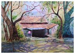 city scape water color santosh loni,landscape 16*11,ART_715_6056,Artist : Santosh Loni,Water Colors