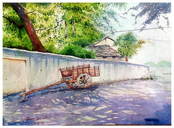 Nature watercolour green shadow painting Beautiful ,my indian village -1 16*11,ART_715_6032,Artist : Santosh Loni,Water Colors