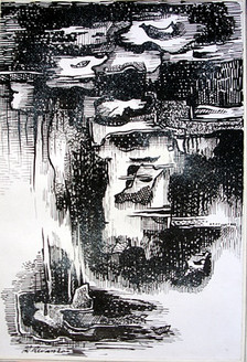 Abstract Series 03 - 08in X 11in,ART_AKRR53_0811,Ink Color,Artist Ashok Revankar,Abstract Art,Abstract Black and White paintings Paintings - Buy painting online in india