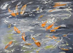 fish, goldfish, orange, water, grey,Fishes in the pond,ART_171_21166,Artist : Sindhulina C,Acrylic