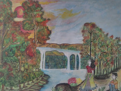 The forest,The spring holiday in forest,ART_3162_21188,Artist : Meera Kumari,Poster Colors