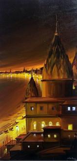 varanasi,ghat,night,landscape,city,city night,ghat,india,light,bright,Night Varanasi Ghat From Top,ART_1232_15716,Artist : SAMIRAN SARKAR,Acrylic