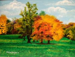 Trees , forest , landscape , blue sky , vibrant ,PRISTINE,ART_2109_17060,Artist : Archana Bangera,Acrylic