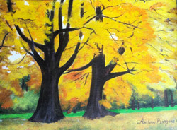 Trees, Autumn , forest , landscape , leaves , vibrant,AUTUMN,ART_2109_17059,Artist : Archana Bangera,Acrylic