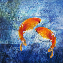 FengShuiFishes2 - 32in X 32in,31Fengshui100_3232,Blue, Violet, Mauve,80X80 Size,Feng Shui Art Canvas Painting