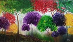 trees , forest , jungle , colours , colourful , colorful , textured , ,Rainbow Jungle,ART_1000_16377,Artist : Shilpi Patel,Oil