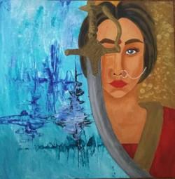 warrior, princess, bride, war, storm, ocean, ,Warrior Princess,ART_3134_21554,Artist : Vaishali Patil,Acrylic
