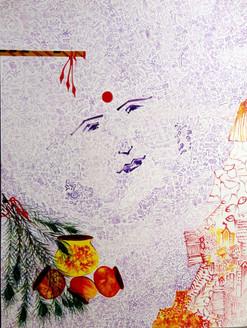 Abstract Krishna 04 - 09in X 12in,ART_KAPL07_0912,Mixed Media,Radha,Paper,Artist Kankana Pal,Krishna, Kannaya,Bal Gopal - Buy Paintings Online in India.