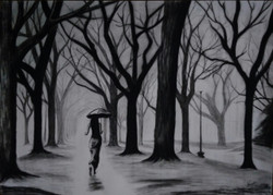 Dark Forest Painting,Dark Forest,ART_2819_21548,Artist : Nagendra Singh,Charcoal