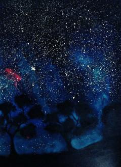 Galaxy,Dense forest,ART_3014_21531,Artist : Priyanka Kamidi,Acrylic