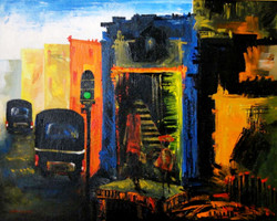 City Scape - 20in X 160in ,ART_KAPL20_2016,Kankana Pal,Museum Quality - 100% Handpainted City,daily life  Buy Paintings online in india