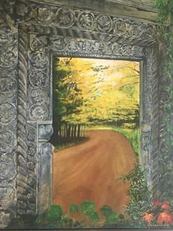 Walk through (ART_2109_21695) - Handpainted Art Painting - 26in X 32in (Framed)