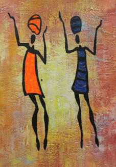 African Art 20 (ART_1522_21724) - Handpainted Art Painting - 12in X 18in