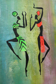 African Art 19 (ART_1522_21723) - Handpainted Art Painting - 12in X 18in