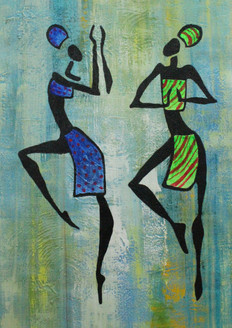 African Art 18 (ART_1522_21722) - Handpainted Art Painting - 12in X 18in