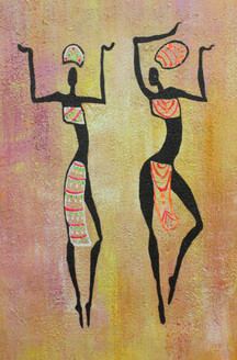 African Art 17 (ART_1522_21721) - Handpainted Art Painting - 12in X 18in