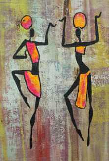 African Art 15  (ART_1522_21711) - Handpainted Art Painting - 12in X 36in
