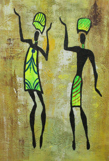 African Art 14 (ART_1522_21710) - Handpainted Art Painting - 12in X 18in