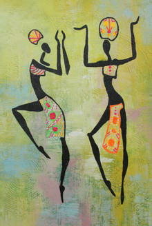 African Art 12 (ART_1522_21708) - Handpainted Art Painting - 12in X 18in