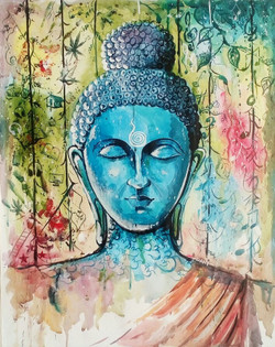 Thoughts of Buddha (ART_3271_21728) - Handpainted Art Painting - 20in X 26in