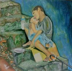 Orphans (ART_3277_21773) - Handpainted Art Painting - 20in X 20in