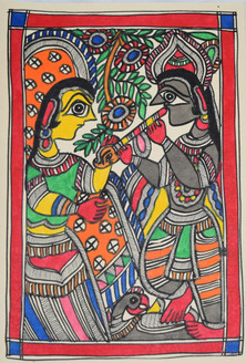 Eternal love of Shri Krishna and Radhaji (ART_2168_21461) - Handpainted Art Painting - 7in X 11in