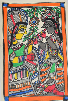 Eternal love of Shri Krishnaji and Radhaji (ART_2168_21460) - Handpainted Art Painting - 7in X 11in