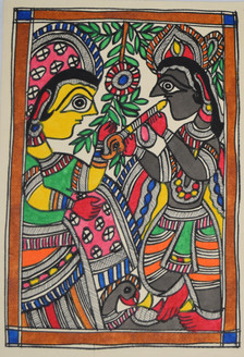 Eternal love of shri Krishna and Radhaji (ART_2168_21459) - Handpainted Art Painting - 7in X 11in