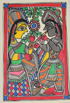 Eternal love Shri Krishna and Radhaji (ART_2168_21458) - Handpainted Art Painting - 7in X 11in