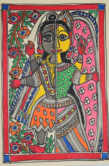 Beautiful Painting of God Shivji and goddess Parvatiji (ART_2168_21443) - Handpainted Art Painting - 7in X 11in