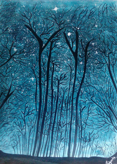 Twinkling stars at wild forest (ART_3014_21808) - Handpainted Art Painting - 16in X 11in