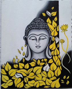 Buddha yellow black and white textured acrylic canvas painting (ART_3288_21821) - Handpainted Art Painting - 18in X 22in