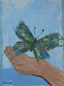 Udhweshtana: Freed from bonds; Unfettered Unbound (ART_2914_20405) - Handpainted Art Painting - 12in X 17in