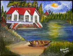 Farm house near lake (ART_2756_19712) - Handpainted Art Painting - 18in X 14in
