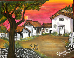 Village-love of nature (ART_2756_19711) - Handpainted Art Painting - 18in X 14in