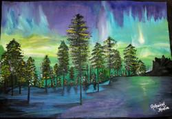 Aurora abisko national parkSweden (ART_2756_19703) - Handpainted Art Painting - 24in X 18in