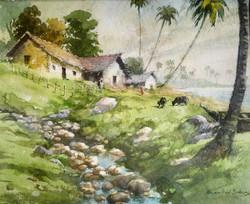 Fishermen houses (ART_662_21933) - Handpainted Art Painting - 13in X 10in