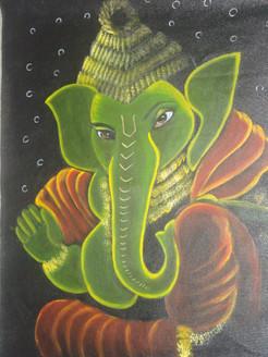 Lord Ganesha (ART_3284_21913) - Handpainted Art Painting - 21in X 28in