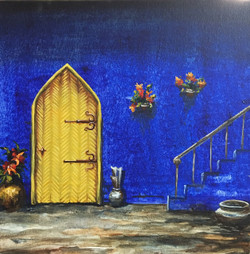The Intriguing Stairway (ART_1316_21841) - Handpainted Art Painting - 12in X 12in (Framed)