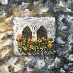 Vintage Views (ART_1316_21837) - Handpainted Art Painting - 12in X 12in (Framed)