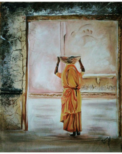 Essence of india (ART_550_22013) - Handpainted Art Painting - 16in X 20in