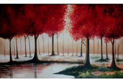 Red trees (ART_550_22012) - Handpainted Art Painting - 20in X 24in