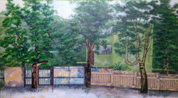 Fence (ART_2442_22045) - Handpainted Art Painting - 54in X 30in