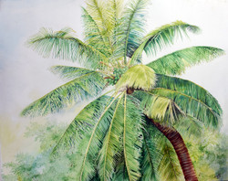 Coconut Tree (ART_2442_22041) - Handpainted Art Painting - 27in X 21in