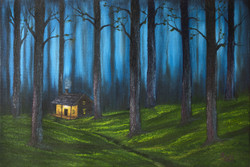 Cold Night (ART_1302_22030) - Handpainted Art Painting - 16in X 12in