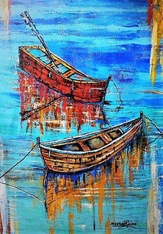 Twin boats in shallow water (ART_1252_21845) - Handpainted Art Painting - 25in X 36in